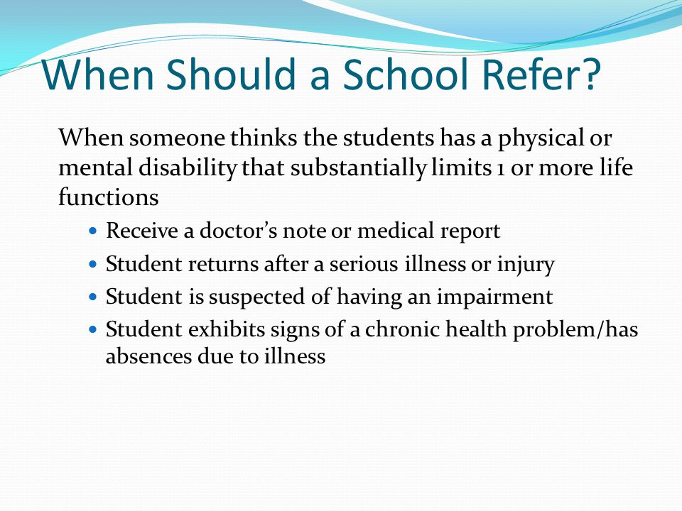 When Should a School Refer.