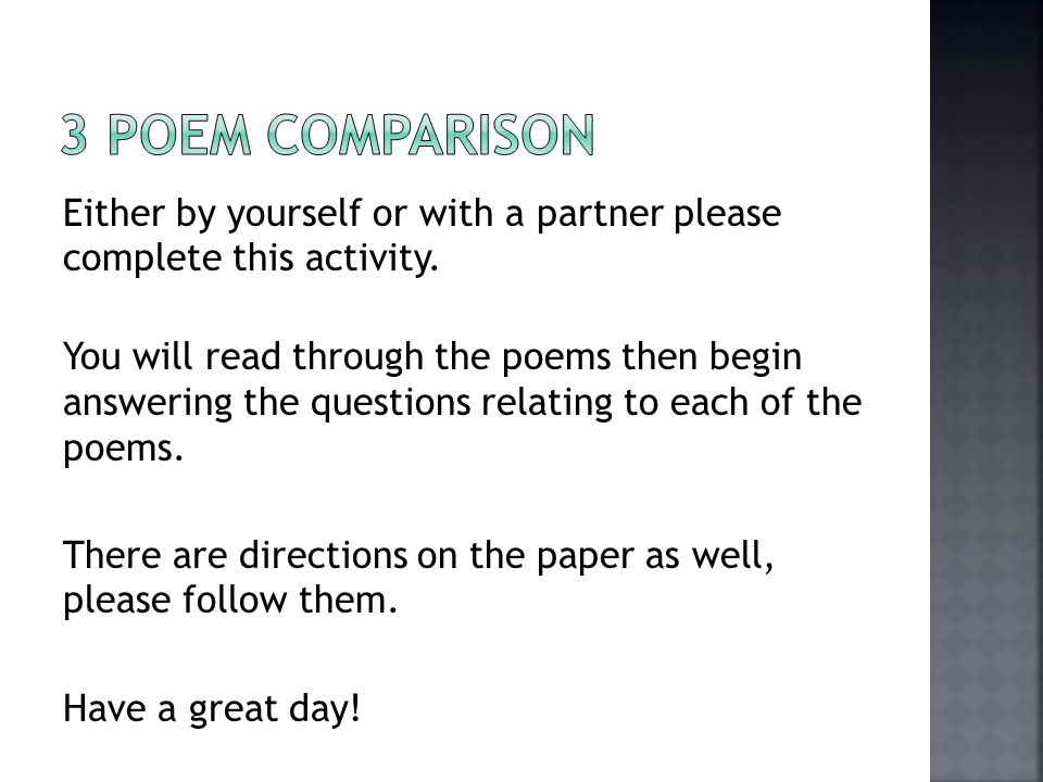 Either by yourself or with a partner please complete this activity.
