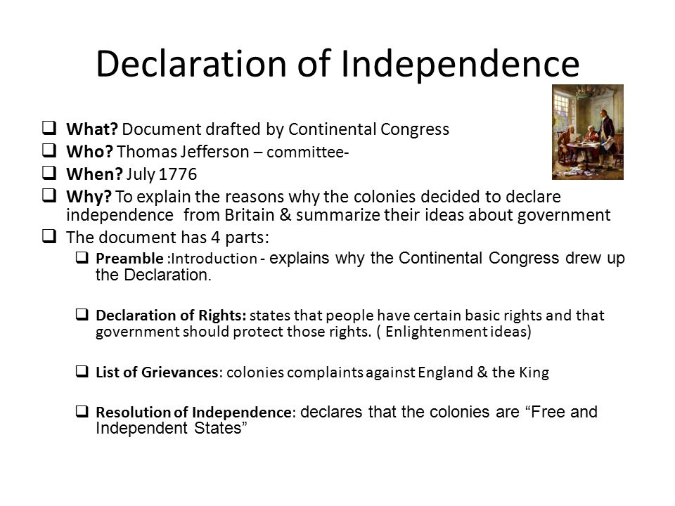 The Declaration of Independence Congress approved the Declaration of Independence on July 4, 1776.