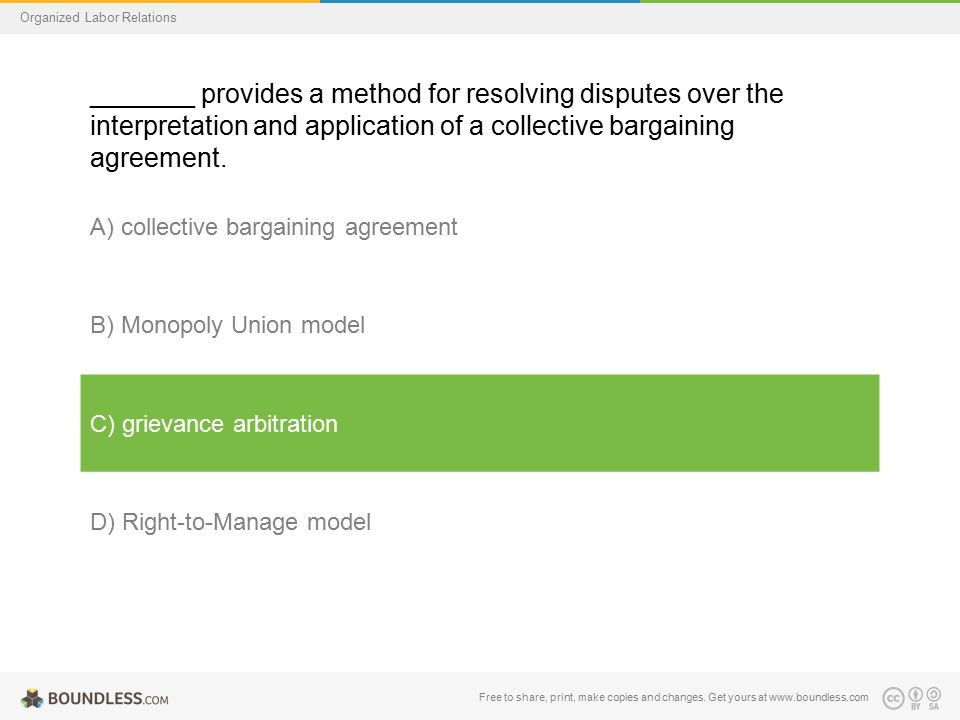 Organized Labor Relations _______ provides a method for resolving disputes over the interpretation and application of a collective bargaining agreemen