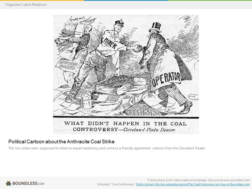 Political Cartoon about the Anthracite Coal Strike The two sides were supposed to listen to expert testimony and come to a friendly agreement; cartoon from the Cleveland Dealer Free to share, print, make copies and changes.