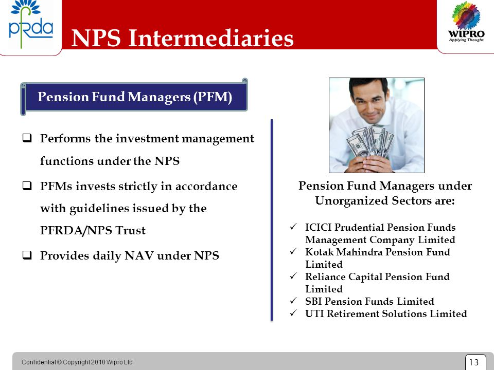 Confidential © Copyright 2010 Wipro Ltd 13 NPS Intermediaries  Performs the investment management functions under the NPS  PFMs invests strictly in