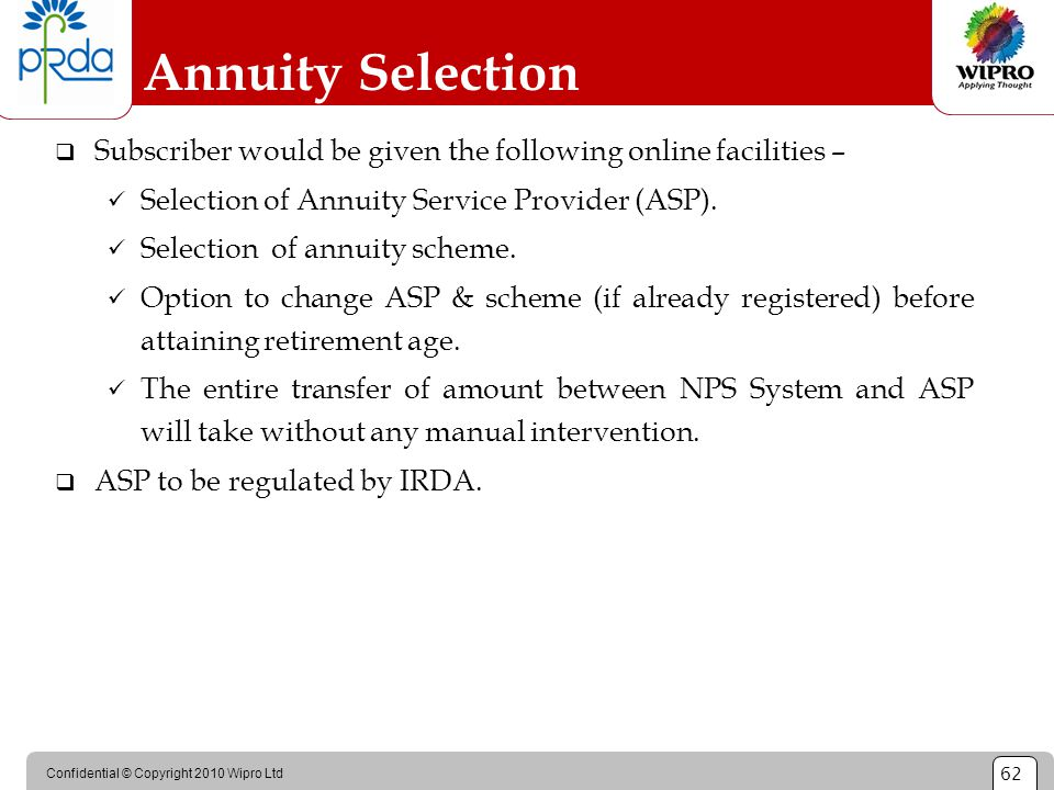 Confidential © Copyright 2010 Wipro Ltd 62  Subscriber would be given the following online facilities – Selection of Annuity Service Provider (ASP).