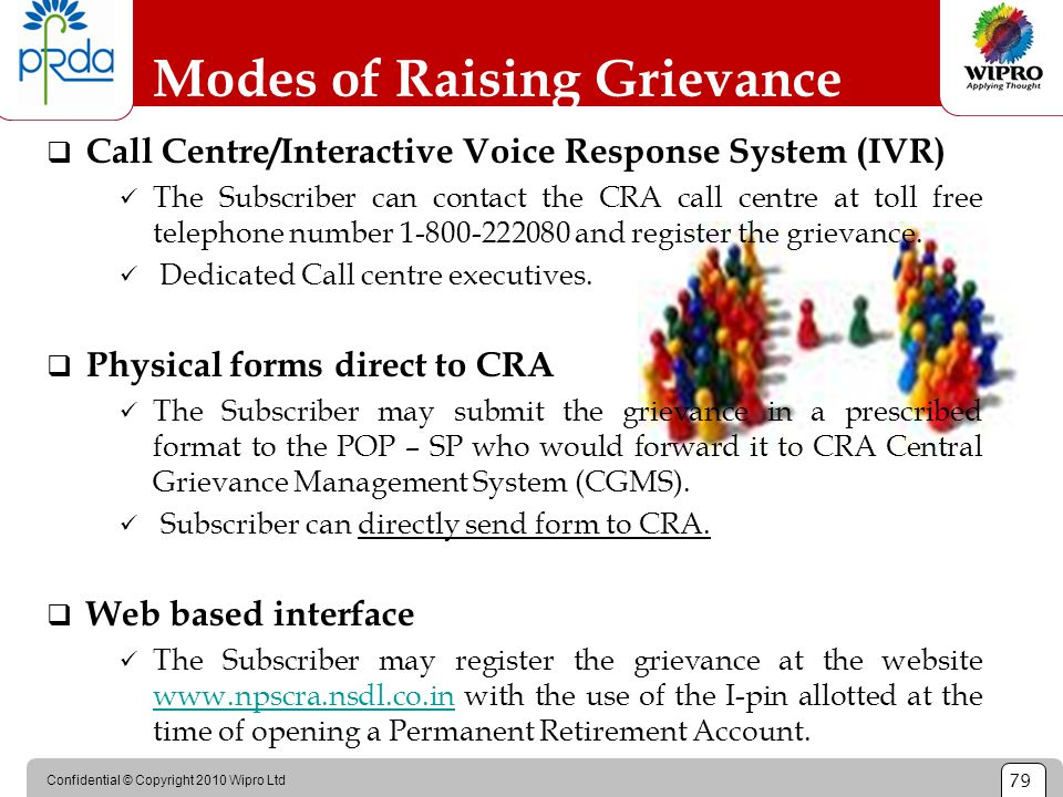 Confidential © Copyright 2010 Wipro Ltd 79 Modes of Raising Grievance  Call Centre/Interactive Voice Response System (IVR) The Subscriber can contact