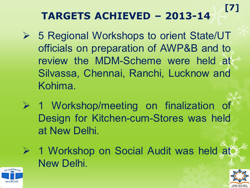 TARGETS ACHIEVED – 2013-14  5 Regional Workshops to orient State/UT officials on preparation of AWP&B and to review the MDM-Scheme were held at Silva