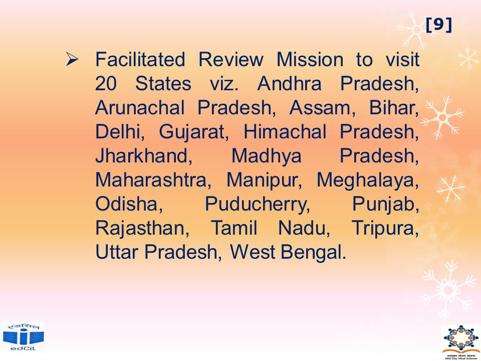  Facilitated Review Mission to visit 20 States viz.