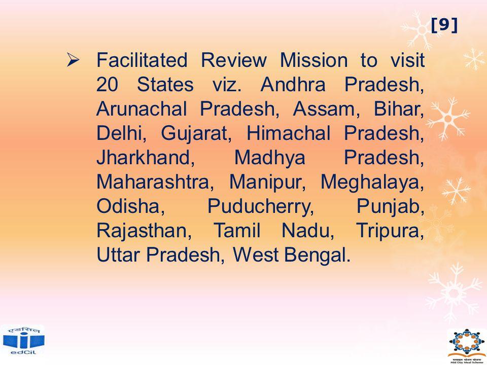  Facilitated Review Mission to visit 20 States viz. Andhra Pradesh, Arunachal Pradesh, Assam, Bihar, Delhi, Gujarat, Himachal Pradesh, Jharkhand, Mad