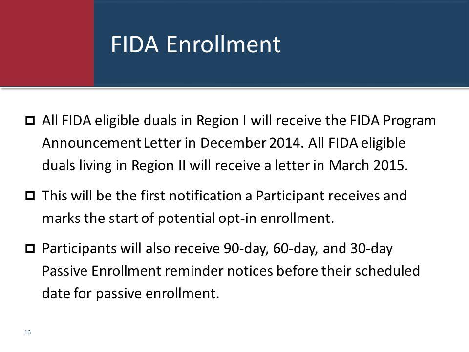 FIDA Enrollment  All FIDA eligible duals in Region I will receive the FIDA Program Announcement Letter in December 2014. All FIDA eligible duals livi