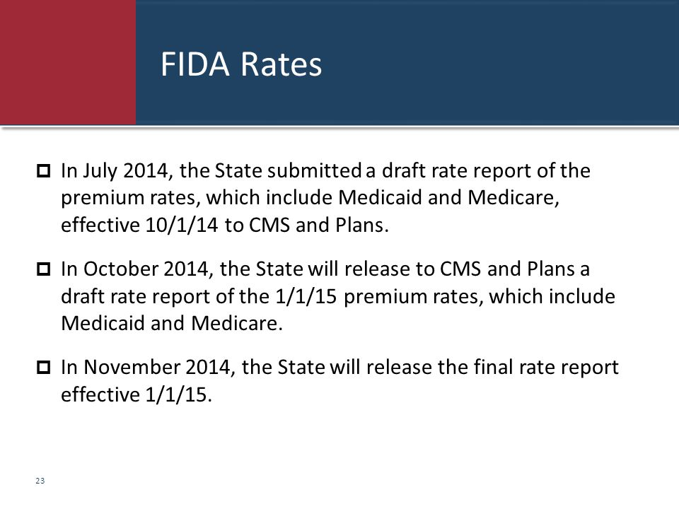 FIDA Rates  In July 2014, the State submitted a draft rate report of the premium rates, which include Medicaid and Medicare, effective 10/1/14 to CMS
