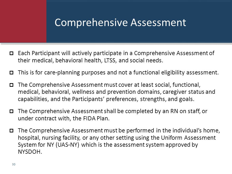 Comprehensive Assessment  Each Participant will actively participate in a Comprehensive Assessment of their medical, behavioral health, LTSS, and soc