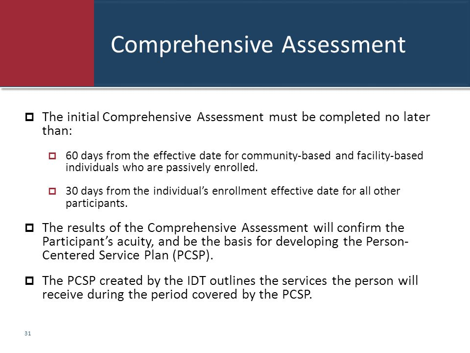 Comprehensive Assessment  The initial Comprehensive Assessment must be completed no later than:  60 days from the effective date for community-based