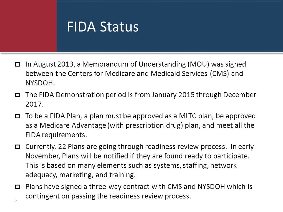 FIDA Status  In August 2013, a Memorandum of Understanding (MOU) was signed between the Centers for Medicare and Medicaid Services (CMS) and NYSDOH.