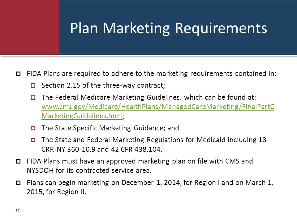 Plan Marketing Requirements  FIDA Plans are required to adhere to the marketing requirements contained in:  Section 2.15 of the three-way contract;