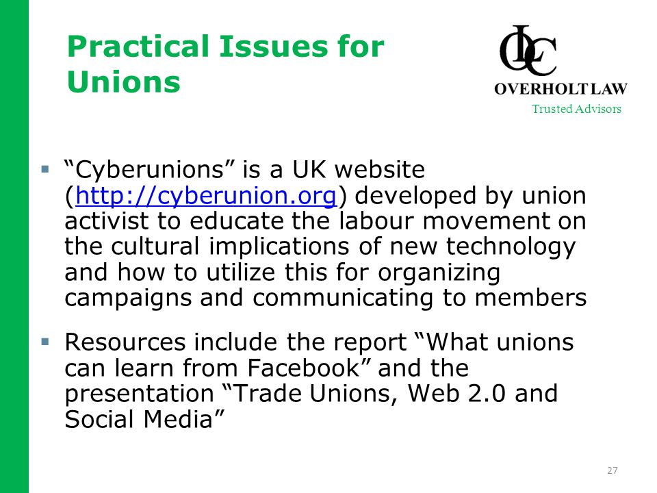 " ""Cyberunions"" is a UK website (http://cyberunion.org) developed by union activist to educate the labour movement on the cultural implications of new"