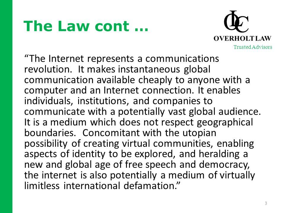 The Internet represents a communications revolution.