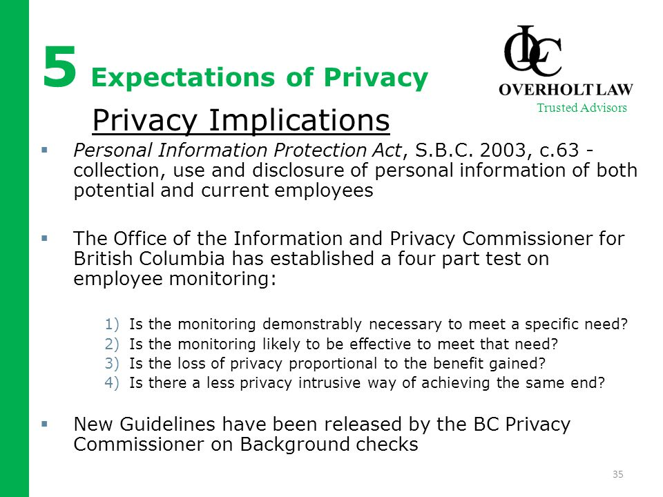 5 Expectations of Privacy Privacy Implications  Personal Information Protection Act, S.B.C. 2003, c.63 - collection, use and disclosure of personal i