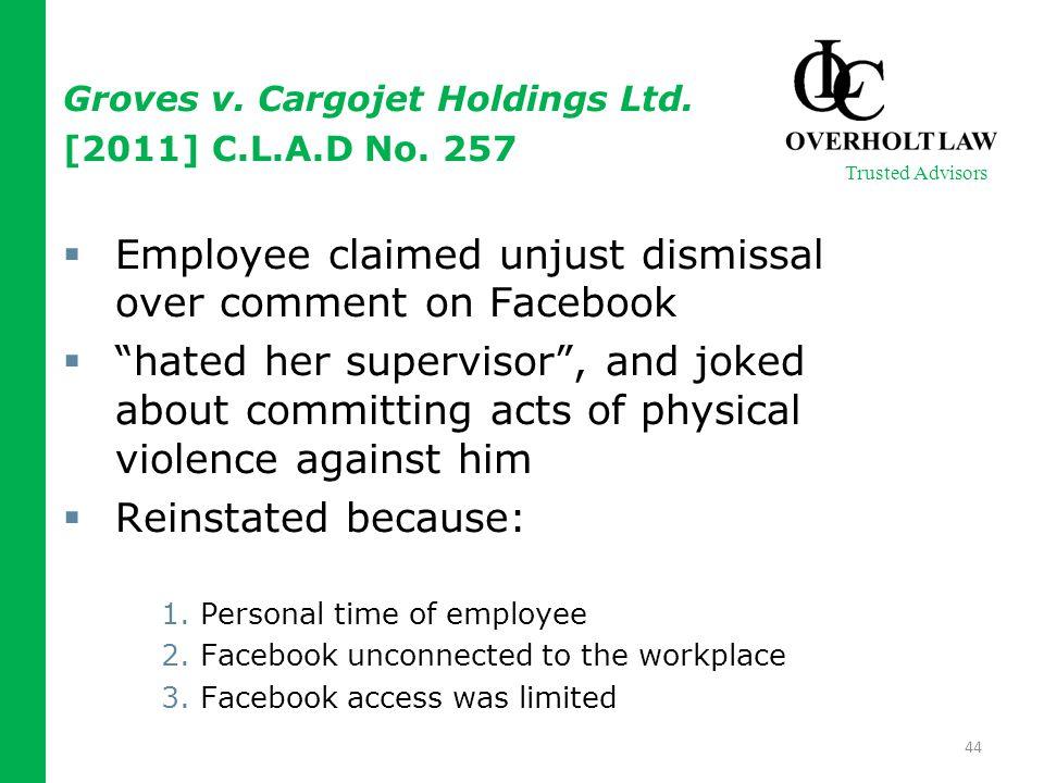Groves v. Cargojet Holdings Ltd. [2011] C.L.A.D No.