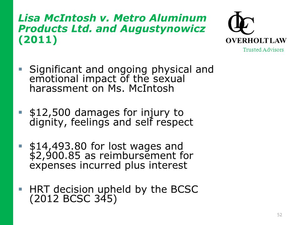 Lisa McIntosh v. Metro Aluminum Products Ltd.