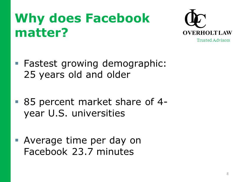  Fastest growing demographic: 25 years old and older  85 percent market share of 4- year U.S.