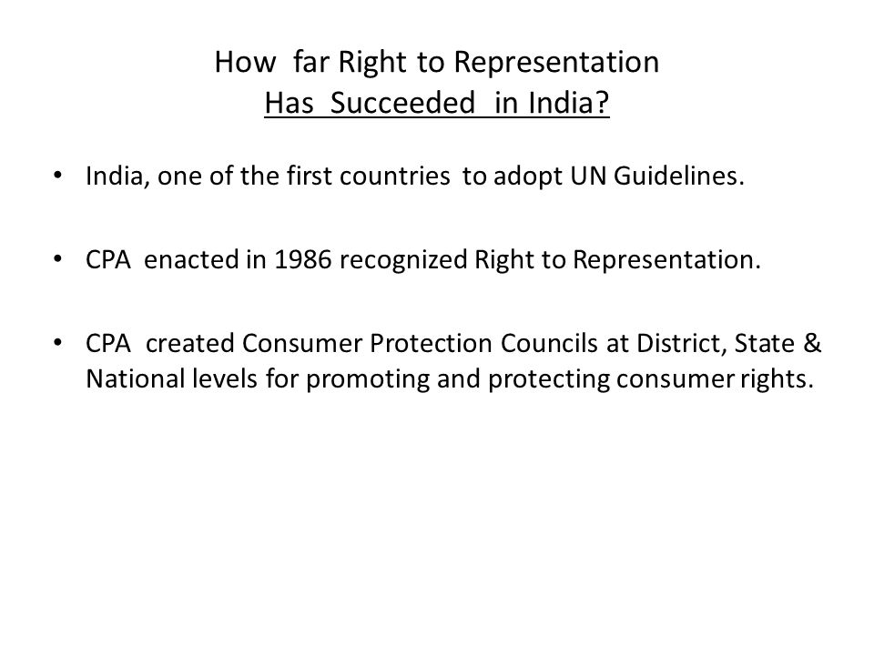How far Right to Representation Has Succeeded in India.