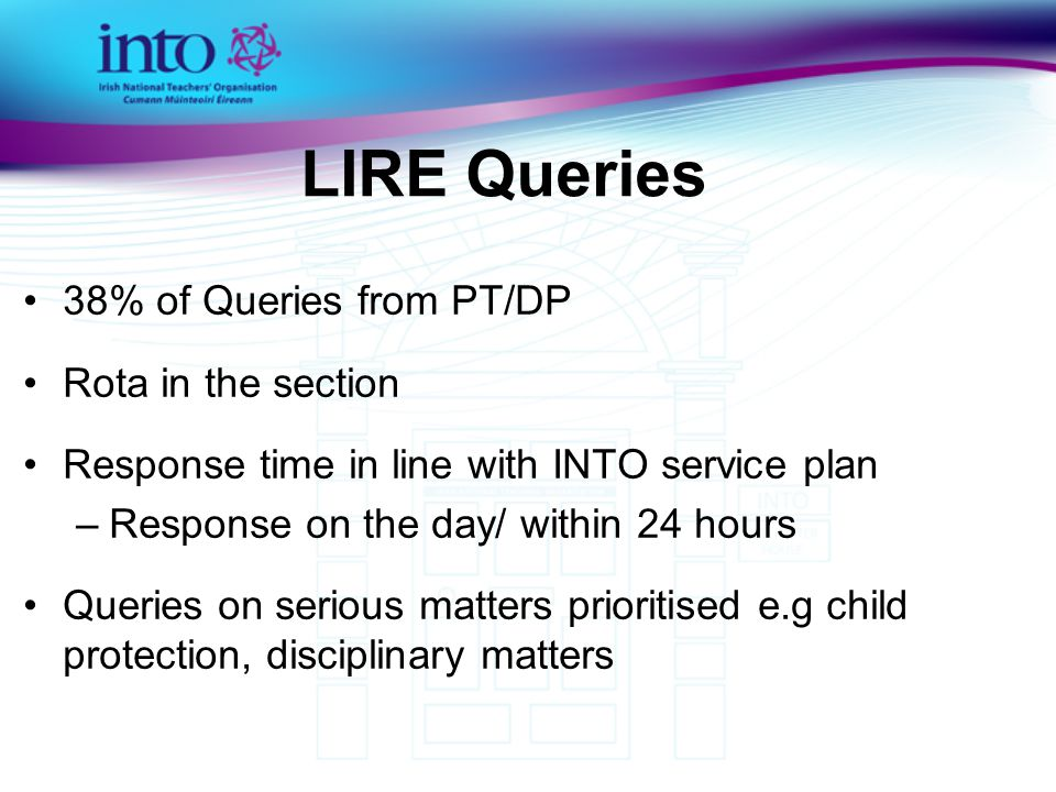 LIRE Query Topics Child Protection Data Protection /Freedom of Information Employment Contracts Appointment Procedures Pupil Enrolment Equality Family Law Health and Safety Staff Relations