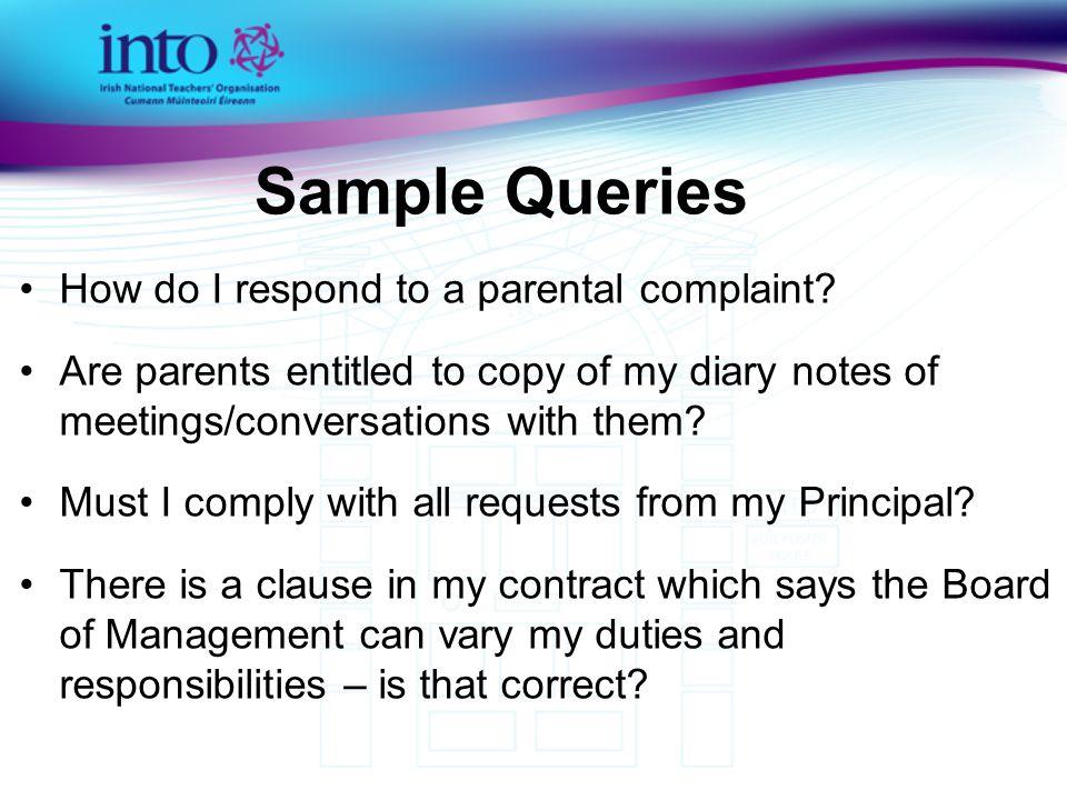 How do I respond to a parental complaint.