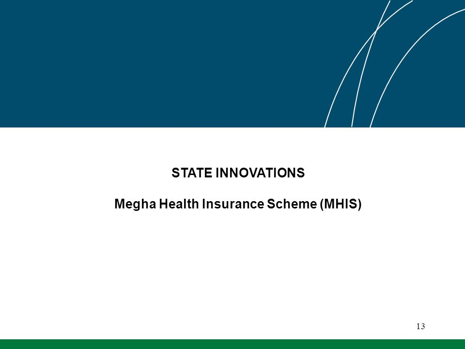 STATE INNOVATIONS Megha Health Insurance Scheme (MHIS) 13