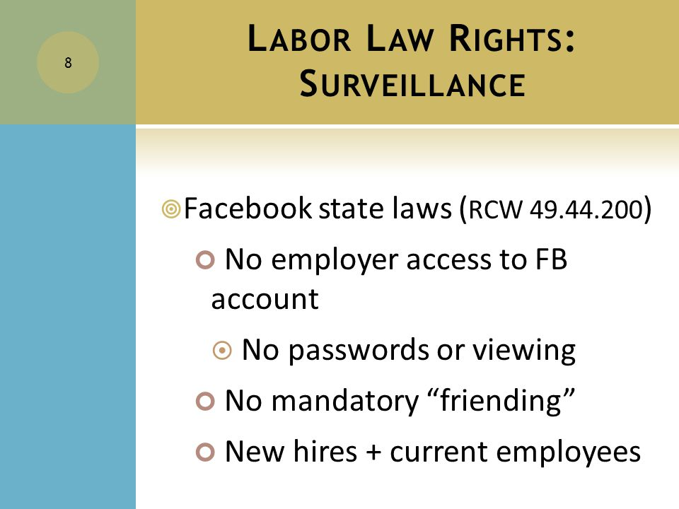 I NDIVIDUAL E MPLOYEE R IGHTS : E MPLOYEE P RIVACY I NTERESTS  An employee uses the employer's equipment/network/account for social media =  The employee does not have an expectation of privacy.