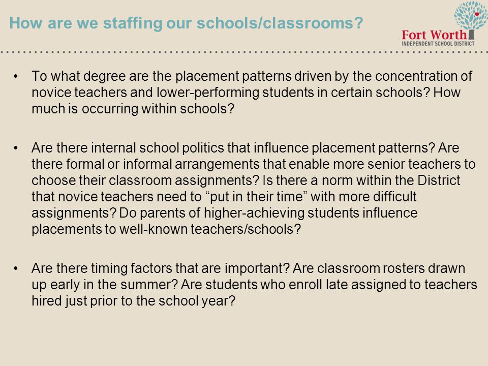 9 How are we staffing our schools/classrooms.