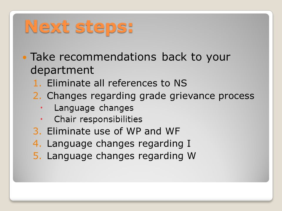 Next steps: Take recommendations back to your department 1.Eliminate all references to NS 2.Changes regarding grade grievance process  Language changes  Chair responsibilities 3.Eliminate use of WP and WF 4.Language changes regarding I 5.Language changes regarding W