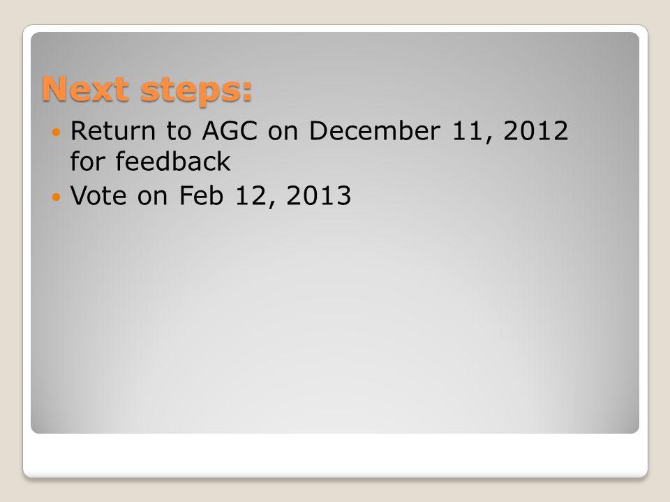 Next steps: Return to AGC on December 11, 2012 for feedback Vote on Feb 12, 2013