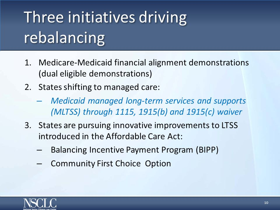 Three initiatives driving rebalancing 1.Medicare-Medicaid financial alignment demonstrations (dual eligible demonstrations) 2.States shifting to managed care: – Medicaid managed long-term services and supports (MLTSS) through 1115, 1915(b) and 1915(c) waiver 3.States are pursuing innovative improvements to LTSS introduced in the Affordable Care Act: – Balancing Incentive Payment Program (BIPP) – Community First Choice Option 10