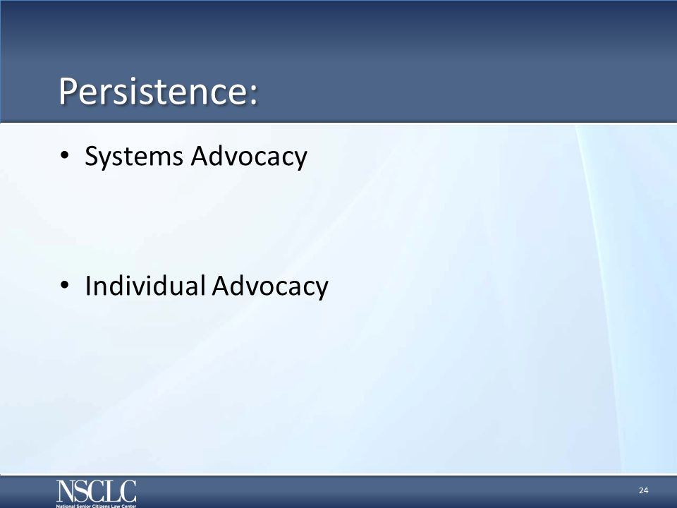 Persistence: Systems Advocacy Individual Advocacy 24