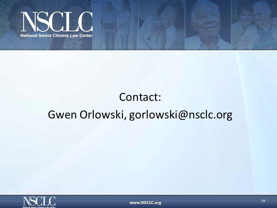 www.NSCLC.org Contact: Gwen Orlowski, gorlowski@nsclc.org 26