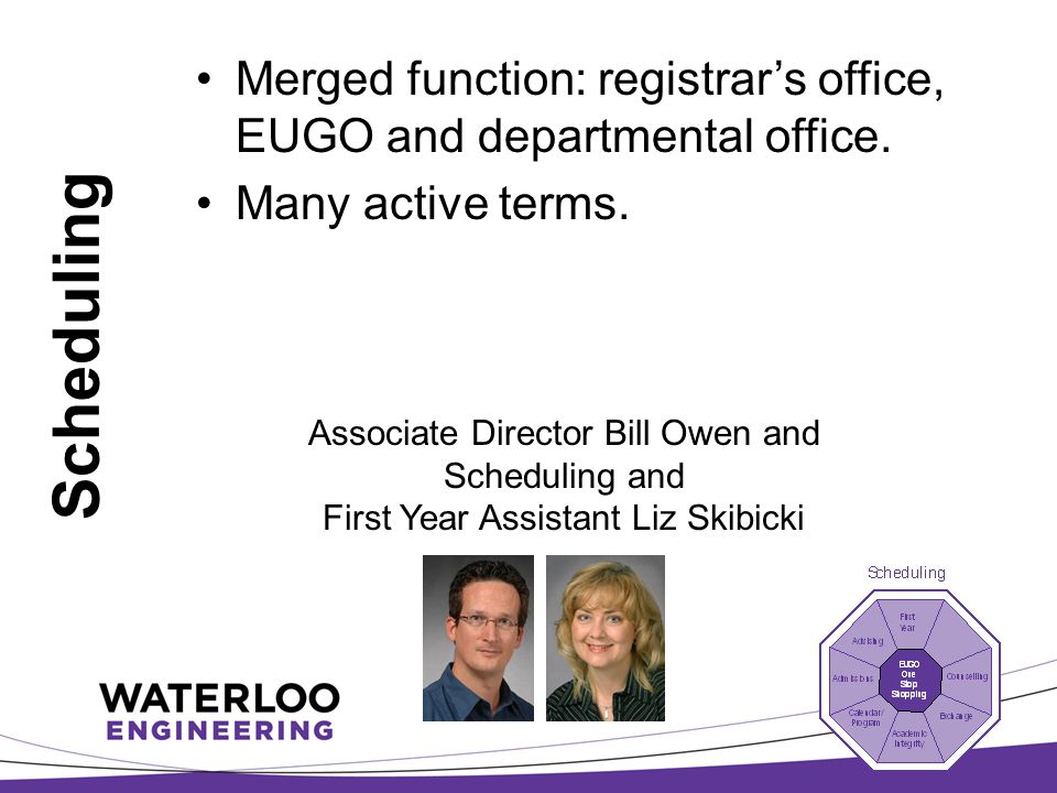 Scheduling Merged function: registrar's office, EUGO and departmental office.