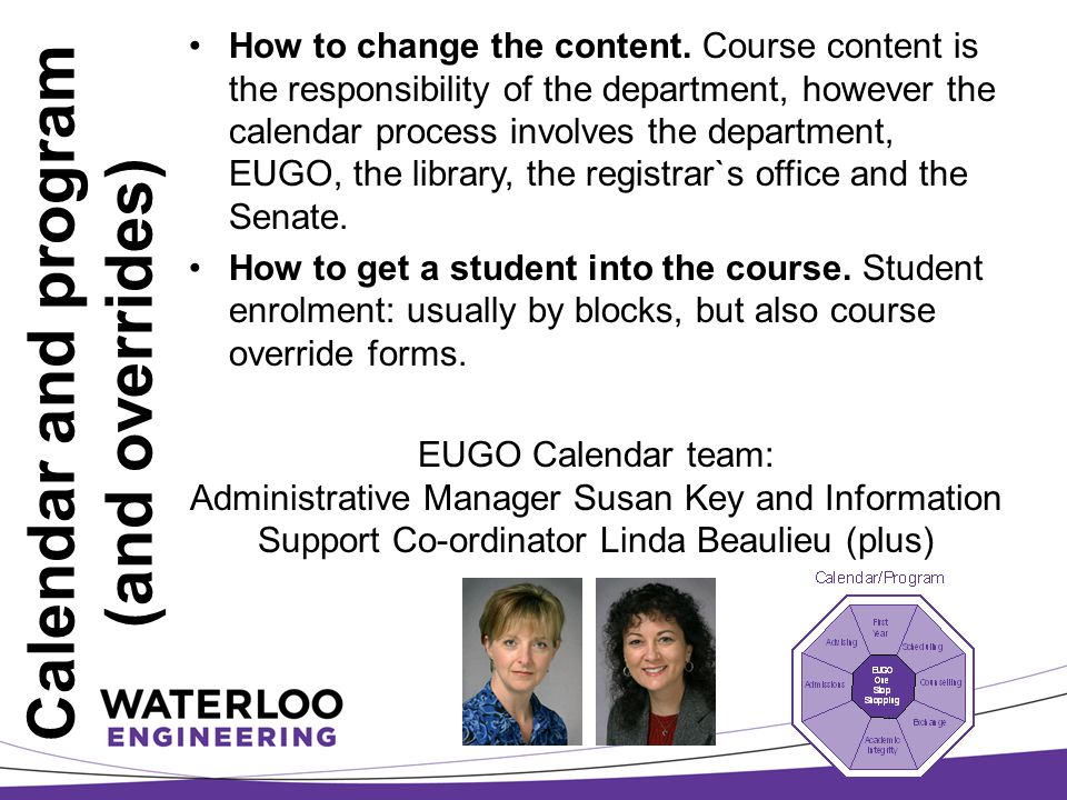 Calendar and program (and overrides) How to change the content.