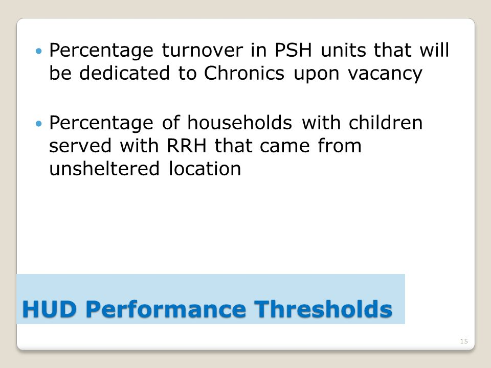 15 Percentage turnover in PSH units that will be dedicated to Chronics upon vacancy Percentage of households with children served with RRH that came from unsheltered location HUD Performance Thresholds