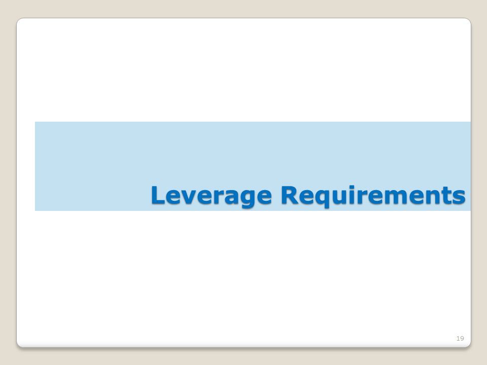 19 Leverage Requirements