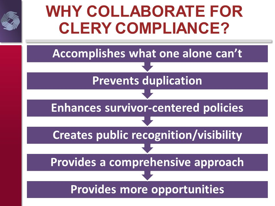 WHY COLLABORATE FOR CLERY COMPLIANCE? Provides more opportunities Provides a comprehensive approach Creates public recognition/visibility Enhances sur