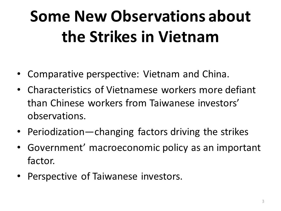 Some New Observations about the Strikes in Vietnam Comparative perspective: Vietnam and China.