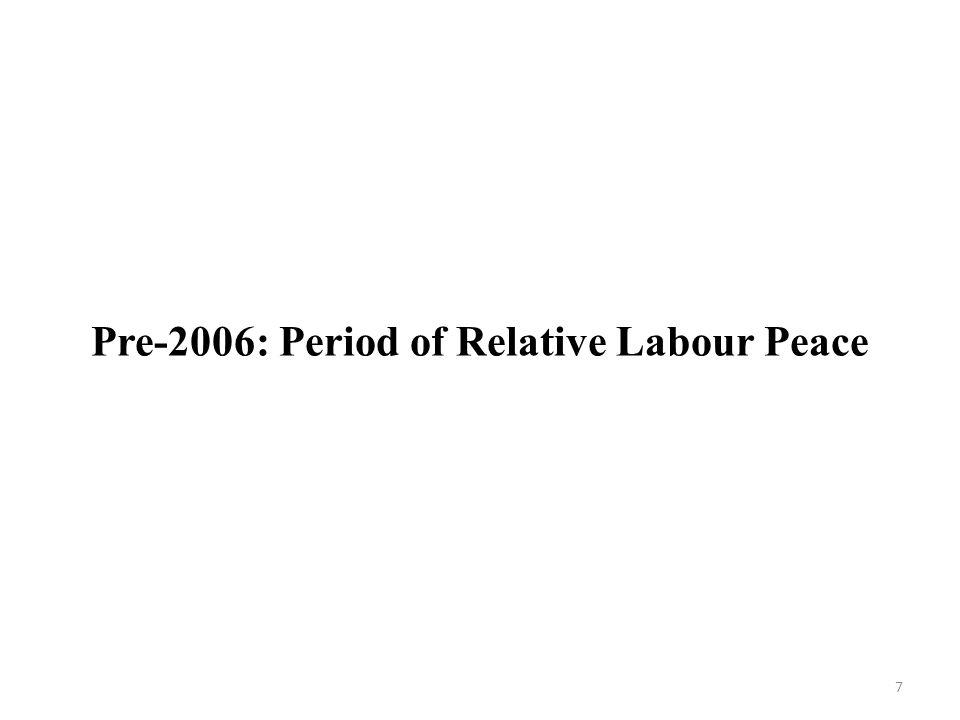7 Pre-2006: Period of Relative Labour Peace