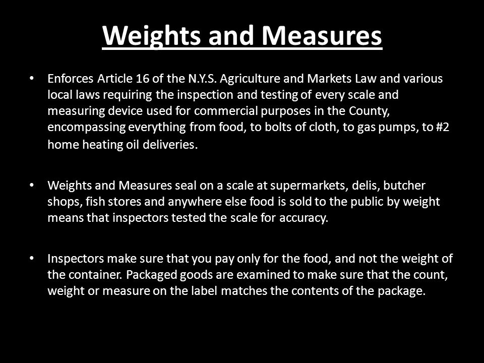 Weights and Measures Enforces Article 16 of the N.Y.S.