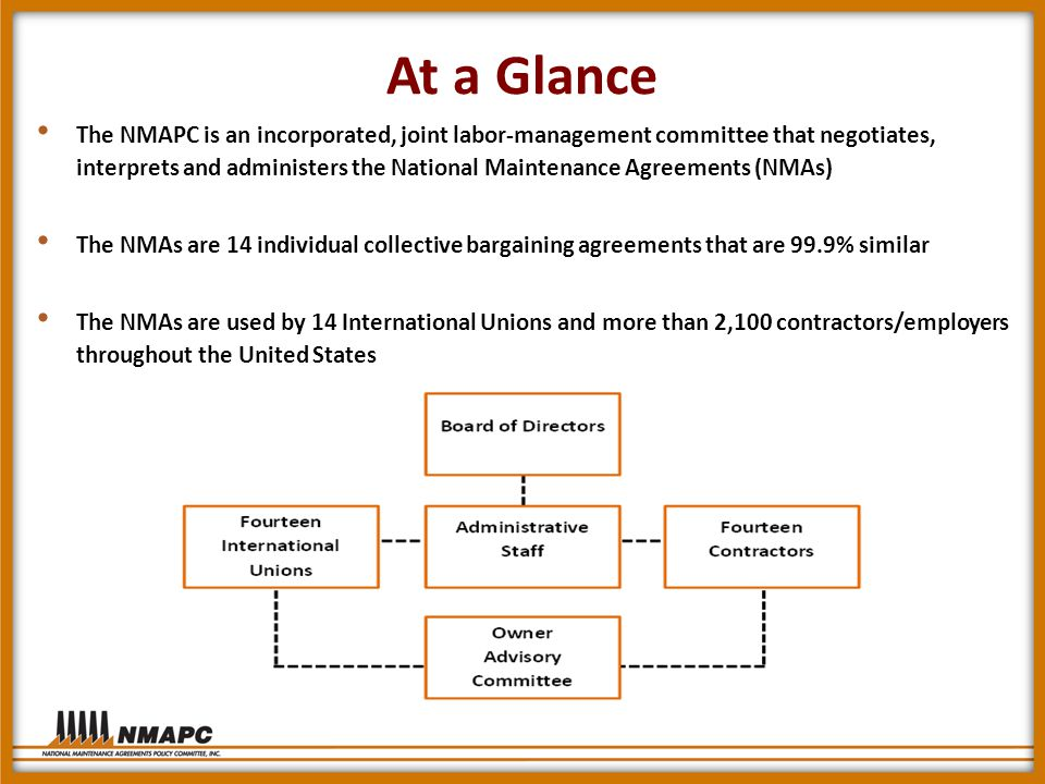 At a Glance The NMAPC is an incorporated, joint labor-management committee that negotiates, interprets and administers the National Maintenance Agreements (NMAs) The NMAs are 14 individual collective bargaining agreements that are 99.9% similar The NMAs are used by 14 International Unions and more than 2,100 contractors/employers throughout the United States