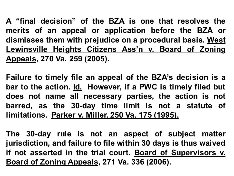 A final decision of the BZA is one that resolves the merits of an appeal or application before the BZA or dismisses them with prejudice on a procedural basis.