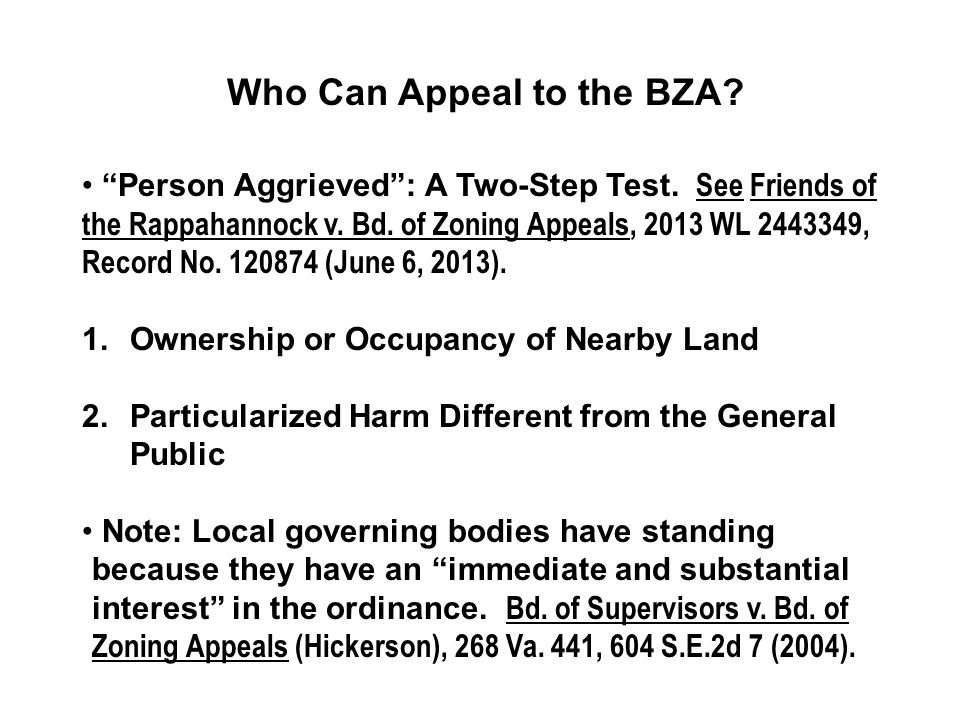 Who Can Appeal to the BZA. Person Aggrieved : A Two-Step Test.