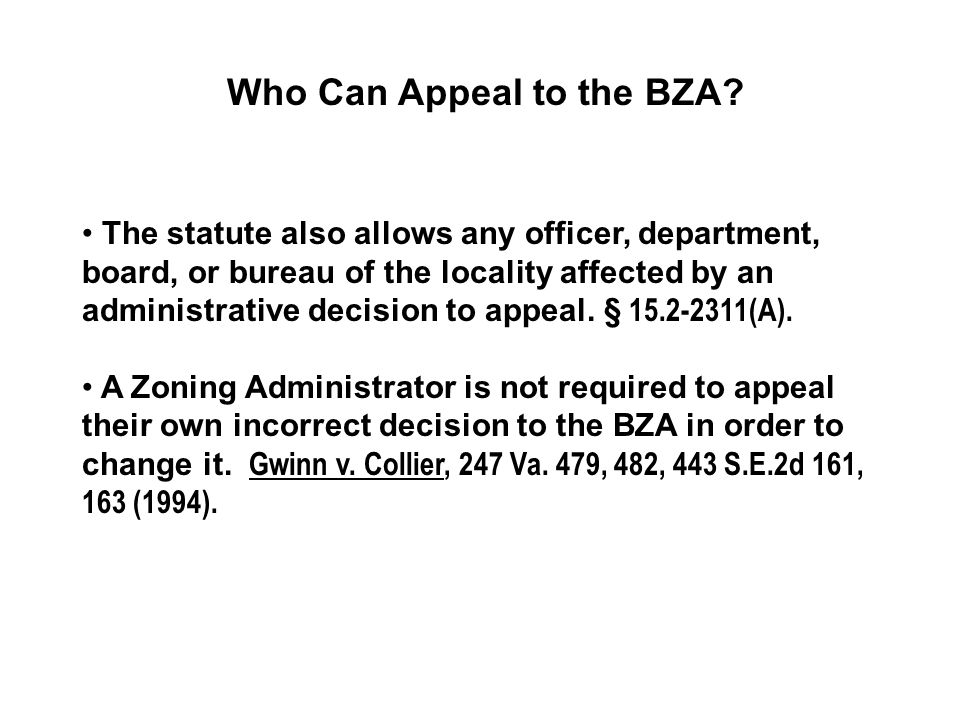 Who Can Appeal to the BZA.