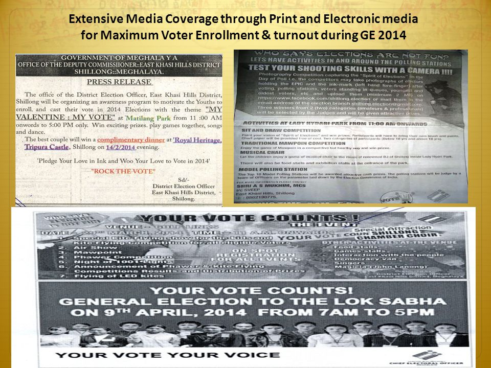Extensive Media Coverage through Print and Electronic media for Maximum Voter Enrollment & turnout during GE 2014