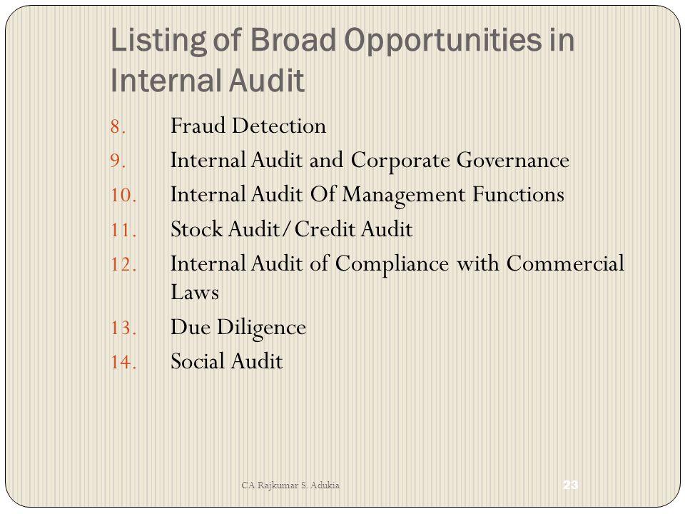 CA Rajkumar S.Adukia 22 Listing of Broad Opportunities in Internal Audit 1.