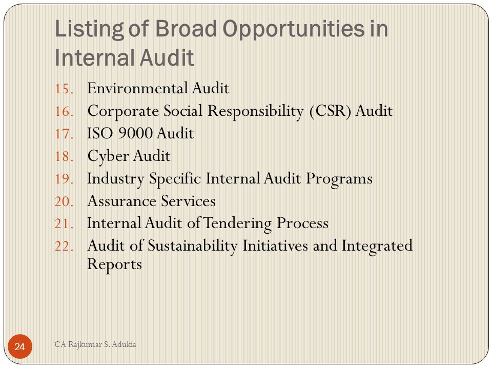 CA Rajkumar S. Adukia 23 Listing of Broad Opportunities in Internal Audit 8. Fraud Detection 9. Internal Audit and Corporate Governance 10. Internal A