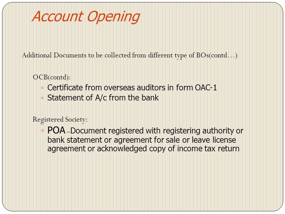 Account Opening Proof of permanent address for joint holders(comm.888) Additional Documents to be collected from different type of BOs(comm.887,932) B